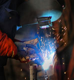 Welding. Of steel on a mining site Royalty Free Stock Photography
