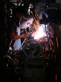 Welding. A piece of steel stock photos