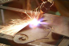Welding. Bright light while welding metal Royalty Free Stock Photography