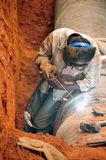 Welding. Water pipes by workers in an indian streets Royalty Free Stock Photography