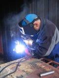 Welding. Worker welding steel Royalty Free Stock Photography
