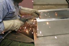Welding. Worker is welding box Royalty Free Stock Photos