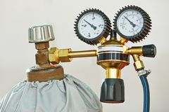 Welding acetylene gas cylinder tank with gauge Royalty Free Stock Images