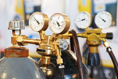 Welding acetylene gas cylinder tank with gauge Royalty Free Stock Photo