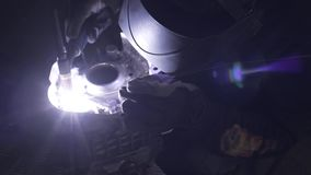 Welding of the aluminium in motorcycle garage repear stock footage