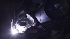 Welding of the aluminium in motorcycle garage repear stock video footage