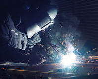 Welding and bright sparks Royalty Free Stock Images
