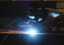 Welding and bright sparks Stock Images
