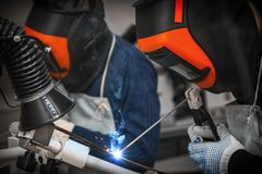 Welding and bright sparks. Stock Photography