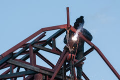 Welding. And bright sparks  Hard job Royalty Free Stock Images