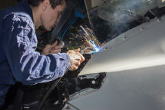 Welding car. Welding the car body after the accident Stock Photos