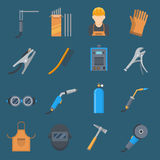 Welding cartoon set. Technology and steel application, service and indusrty. Vector flat style illustration isolated on white background Royalty Free Stock Photo
