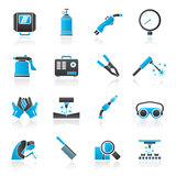 Welding and construction tools icons Royalty Free Stock Photos