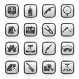 Welding and construction tools icons. Vector icon set Stock Photos