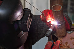 Welding control sample from a pipe of small diameter Stock Photo