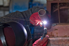 Welding control sample from a pipe of small diameter Royalty Free Stock Photo