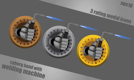 Welding cyborg hands icons. Bronze, silver, gold, vector rating icons on steel background with cyborg hand holding welding machine Stock Photography