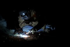Welding in the dark Stock Photos