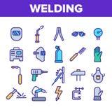 Welding Equipment Linear Icons Vector Set vector illustration