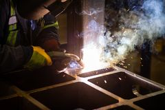 Welding in a factory stock image