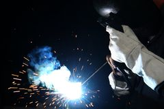 Welding Flame on Black Background Royalty Free Stock Images