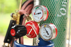 Welding gas cylinder pressure gauge Royalty Free Stock Photos