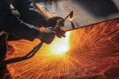 Flame cutting with oxygen royalty free stock photos