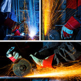 Welding and grinding collage stock photography