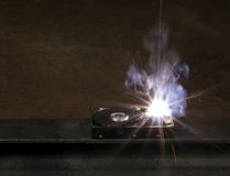 Welding a hard disk Royalty Free Stock Images