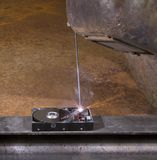 Welding a hard disk Stock Image