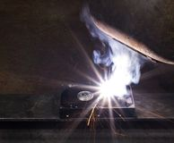 Welding on a hard drive Stock Photography