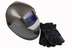 Welding helmet. Isolated image of welding  helmet and safety gloves Stock Photo