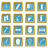 Welding icons azure. Welding icons set in azur color isolated vector illustration for web and any design Royalty Free Stock Photography