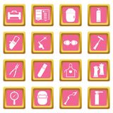 Welding icons pink. Welding icons set in pink color isolated vector illustration for web and any design Stock Images