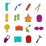 Welding icons doodle set. Welding icons set. Doodle illustration of vector icons isolated on white background for any web design Stock Images
