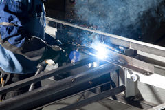 Welding at the industrial factory Stock Images