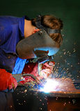 Welding in Industry. Welding of steel on site at an industrial mining site royalty free stock photography