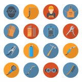 Welding industry cartoon icon set Royalty Free Stock Images