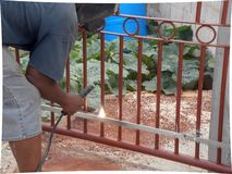 Welding For Instalation of Electric Gate Opener stock images