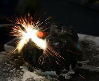 Welding job. In repair facility Royalty Free Stock Photography