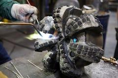 Welding job. In repair facility Royalty Free Stock Photos