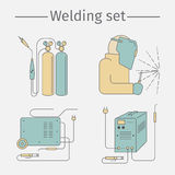 Welding line icon set. Vector illustration. Royalty Free Stock Photo