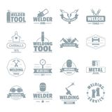 Welding logo icons set, simple style. Welding logo icons set. Simple illustration of 16 welding logo vector icons for web Royalty Free Stock Images