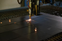 Welding machine connects the square metal parts Stock Images