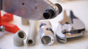 Welding machine, tools and fittings fading in stock video footage