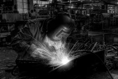 Welding. Man welding in the factory Stock Photography