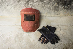 Welding mask and gloves Stock Photography