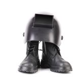 Welding mask and pair boots. Royalty Free Stock Photo
