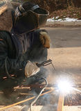 Welding of metal by an electric current Royalty Free Stock Images