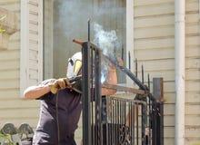 Welding of metal gate Stock Image